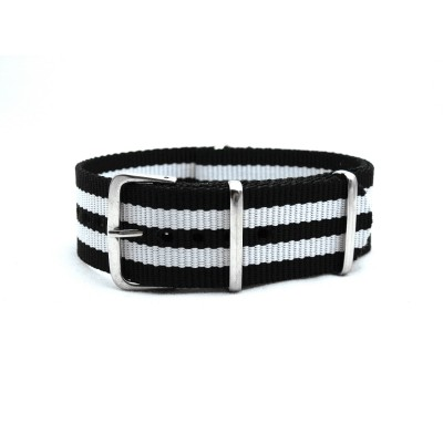 HNS Black & White Strip Heavy Duty Ballistic Nylon Watch Strap With Polished Stainless Steel Buckle