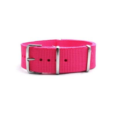 HNS Hot Pink Heavy Duty Ballistic Nylon Watch Strap With Polished Stainless Steel Buckle