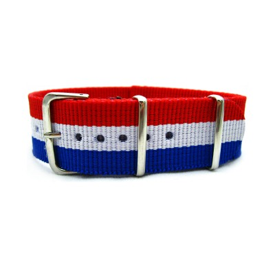 HNS France Flag Red & White & Blue Strip Heavy Duty Ballistic Nylon Watch Strap With Polished Stainless Steel Buckle