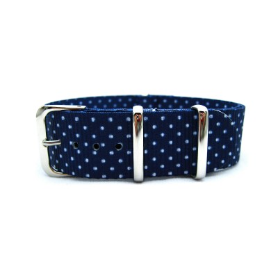 HNS Double Graphic Printed White Dots Navy BG Heavy Duty Ballistic Nylon Watch Strap With Polished Stainless Steel Buckle