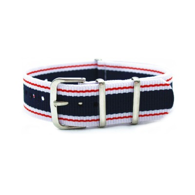 HNS Vintage Jeans Style Strip Nylon Watch Strap With Polished Stainless Steel Buckle
