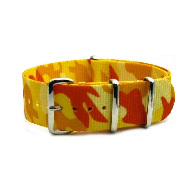 HNS Camouflage Yellow Desert Heavy Duty Ballistic Nylon Watch Strap With Polished Stainless Steel Buckle