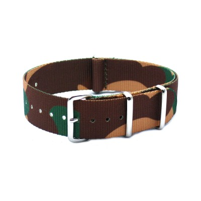 HNS Camouflage Desert  Heavy Duty Ballistic Nylon Watch Strap With Polished Stainless Steel Buckle