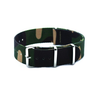 HNS Camouflage Woodland Heavy Duty Ballistic Nylon Watch Strap With Polished Stainless Steel Buckle