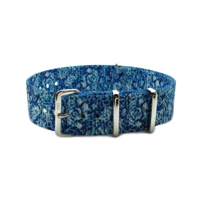 HNS Double Graphic Printed Blue Flower Pattern Heavy Duty Ballistic Nylon Watch Strap With Polished Stainless Steel Buckle