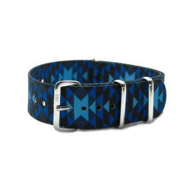 HNS Double Graphic Printed Blue Diamond Pattern Heavy Duty Ballistic Nylon Watch Strap With Polished Stainless Steel Buckle