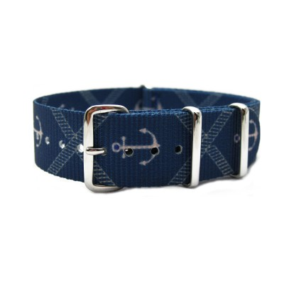 HNS Double Graphic Printed Anchors Blue BG Heavy Duty Ballistic Nylon Watch Strap With Polished Stainless Steel Buckle