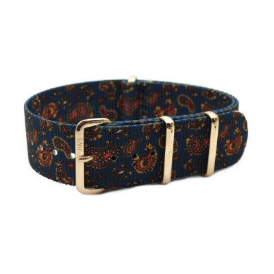 HNS Double Graphic Printed Vintage Navy Paisley Pattern Heavy Duty Ballistic Nylon Watch Strap With Rose Gold Polished Stainless Steel Buckle