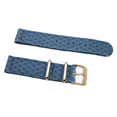 HNS 2 Pieces Double Graphic Printed Indigo Sashiko Waves Blue BG Heavy Duty Ballistic Nylon Watch Strap With Rose Gold Buckle