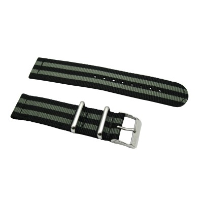 HNS 2 Pieces James Bond 007 Black & Grey Heavy Duty Ballistic Nylon Watch Strap With Stainless Steel Buckle