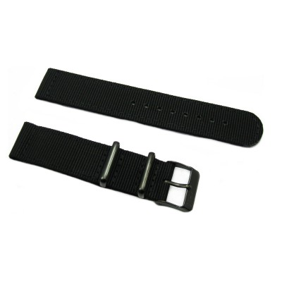 HNS 2 Pieces Black Heavy Duty Ballistic Nylon Watch Strap With PVD Coated Stainless Steel Buckle