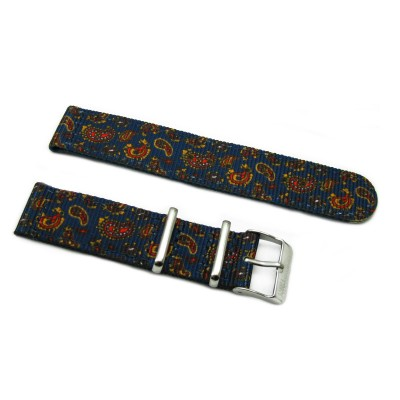 HNS 2 Pieces Double Graphic Printed Vintage Navy Paisley Pattern Heavy Duty Ballistic Nylon Watch Strap With Polished Stainless Steel Buckle
