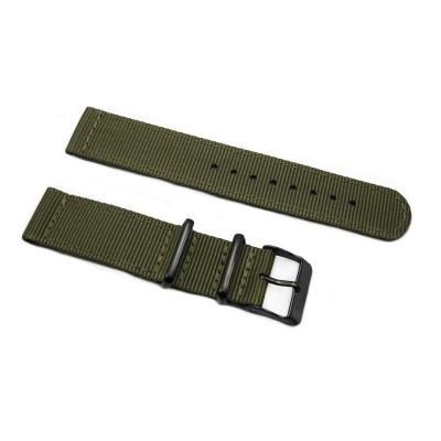 HNS 2 Pieces Olive Heavy Duty Ballistic Nylon Watch Strap With PVD Coated Stainless Steel Buckle