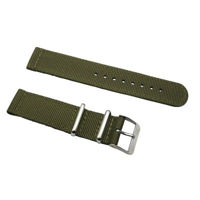 HNS 2 Pieces Olive Heavy Duty Ballistic Nylon Watch Strap With Stainless Steel Buckle