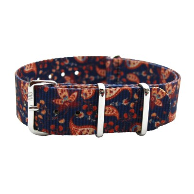 HNS Double Graphic Printed Vintage Paisley Heavy Duty Ballistic Nylon Watch Strap With Polished Stainless Steel Buckle