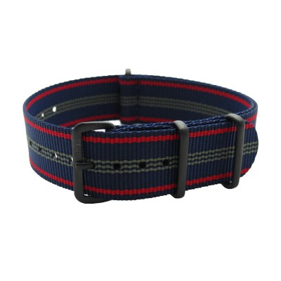 HNS Blue Red Stripe Heavy Duty Ballistic Nylon Watch Strap With PVD Coated Buckle