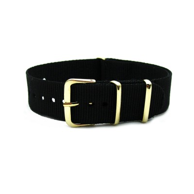 HNS Black Nylon Watch Strap With Rose Gold Polished Stainless Steel Buckle