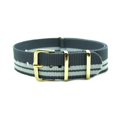 HNS Grey Strip Nylon Watch Strap With Rose Gold Polished Stainless Steel Buckle