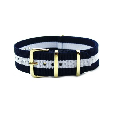 HNS Blue & White Strip Nylon Watch Strap With Rose Gold Polished Stainless Steel Buckle