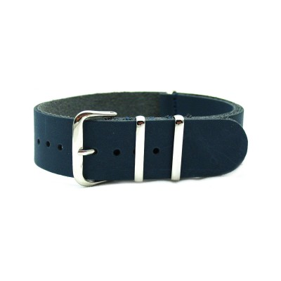 HNS Handmade Navy Calf Leather Watch Strap With 3 Polished Stainless Steel Rings
