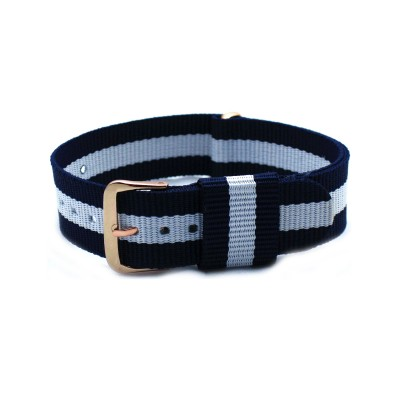 HNS Navy & White Strip Nylon Vintage Watch Strap With Rose Gold Polished Stainless Steel Buckle