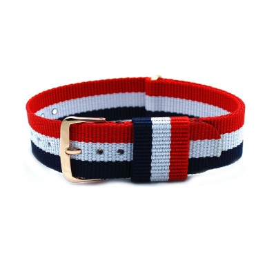 HNS France Flag Red & White & Blue Strip Nylon Vintage Watch Strap With Rose Gold Polished Stainless Steel Buckle