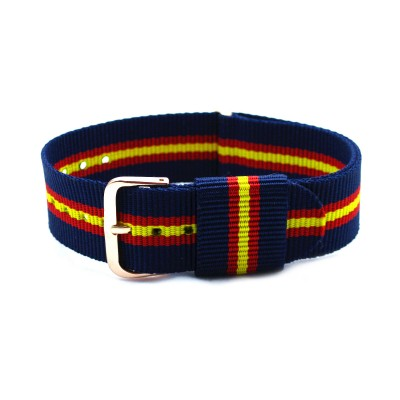 HNS Navy & Red & Yellow Strip Nylon Vintage Watch Strap With Rose Gold Polished Stainless Steel Buckle