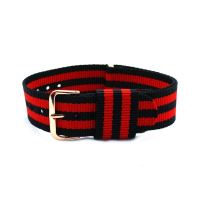 HNS Black & Red Strip Nylon Vintage Watch Strap With Rose Gold Polished Stainless Steel Buckle