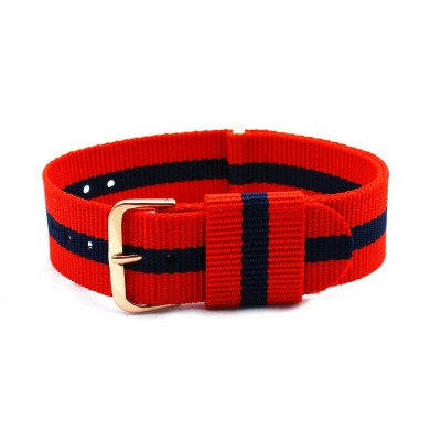 HNS Red & Navy Strip Nylon Vintage Watch Strap With Rose Gold Polished Stainless Steel Buckle