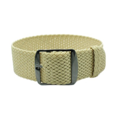 HNS Beige Perlon Tropic Braided Woven Watch Strap With PVD coated Stainless Steel Buckle