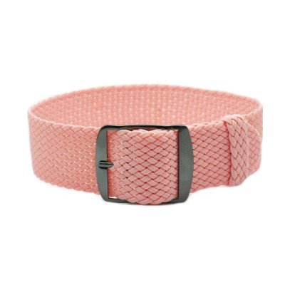 HNS Pink Perlon Tropic Braided Woven Strap With PVD Coated Stainless Steel Buckle