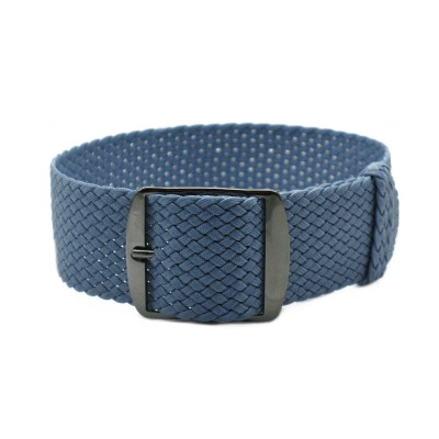 HNS Grey Blue Perlon Tropic Braided Woven Strap With PVD Coated Stainless Steel Buckle