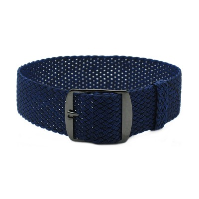 HNS Navy Perlon Tropic Braided Woven Strap With PVD Coated Stainless Steel Buckle