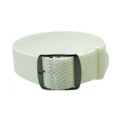 HNS White Perlon Tropic Braided Woven Strap With PVD Coated Stainless Steel Buckle