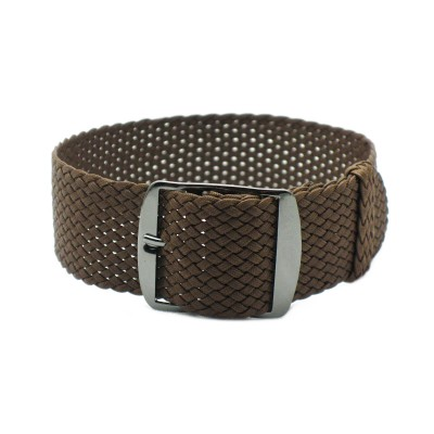 HNS Coffee Perlon Tropic Braided Woven Strap With PVD Coated Stainless Steel Buckle