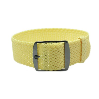 HNS Light Yellow Perlon Tropic Braided Woven Strap With PVD Coated Stainless Steel Buckle