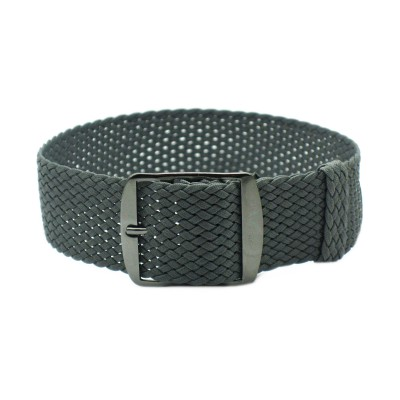 HNS Dark Grey Perlon Tropic Braided Woven Strap With PVD Coated Stainless Steel Buckle
