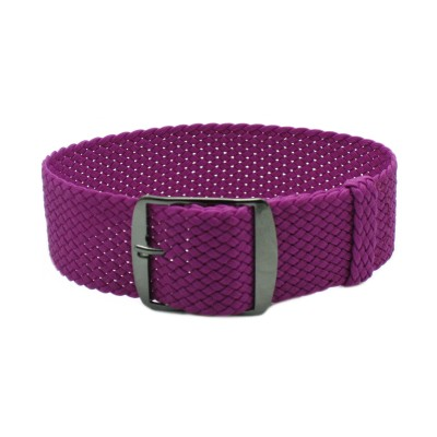 HNS Purple Perlon Tropic Braided Woven Strap With PVD Coated Stainless Steel Buckle