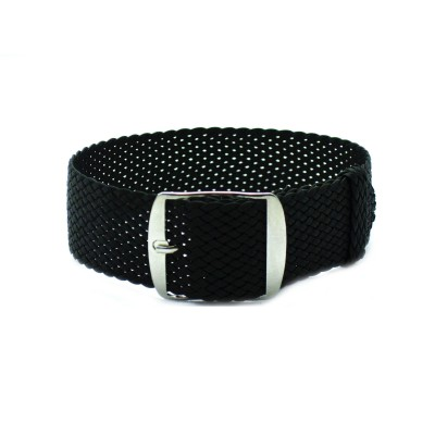 HNS Black Perlon Tropic Braided Woven Strap With Brushed Stainless Steel Buckle