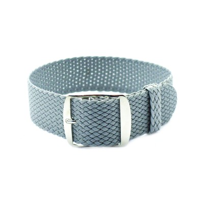 HNS Grey Perlon Tropic Braided Woven Strap With Brushed Stainless Steel Buckle