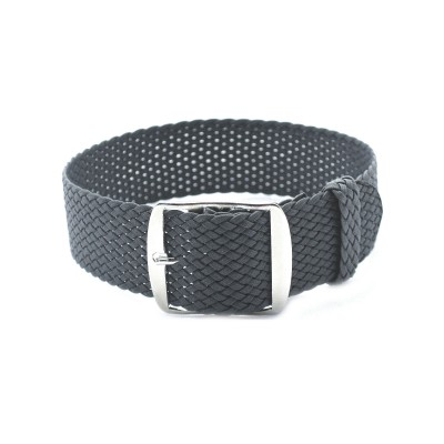 HNS Dark Grey Perlon Tropic Braided Woven Strap With Brushed Stainless Steel Buckle