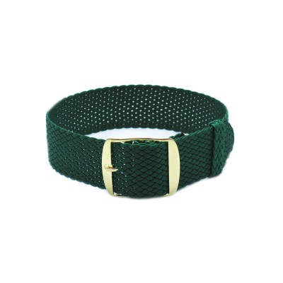 HNS Green Perlon Tropic Braided Woven Strap With Gold Brushed Stainless Steel Buckle