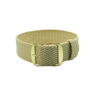 HNS Beige Perlon Tropic Braided Woven Watch Strap With Gold Brushed Stainless Steel Buckle