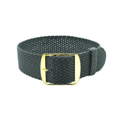 HNS Dark Grey Perlon Tropic Braided Woven Strap With Gold Brushed Stainless Steel Buckle