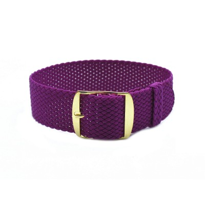 HNS Purple Perlon Tropic Braided Woven Strap With Gold Brushed Stainless Steel Buckle