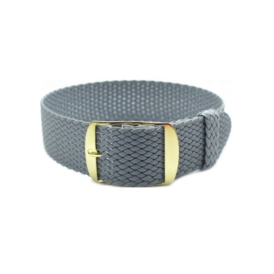 HNS Grey Perlon Tropic Braided Woven Strap With Gold Brushed Stainless Steel Buckle