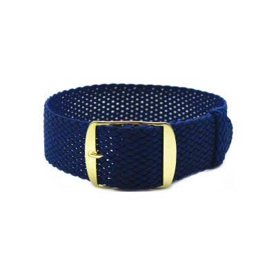 HNS Navy Perlon Tropic Braided Woven Strap With Gold Brushed Stainless Steel Buckle
