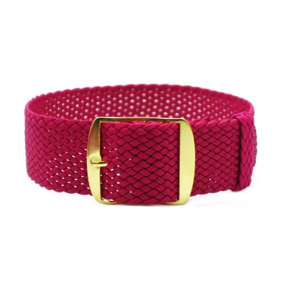 HNS Rose Red Perlon Tropic Braided Woven Watch Strap With Gold Stainless Steel Buckle