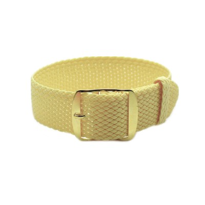 HNS Light Yellow Perlon Tropic Braided Woven Strap With Gold Brushed Stainless Steel Buckle