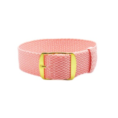 HNS Pink Perlon Tropic Braided Woven Strap With Gold Brushed Stainless Steel Buckle